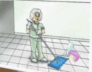 limpando piso